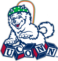 husky with EEG with Uconn logo