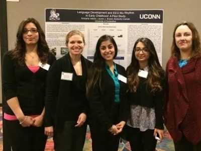 Lab Students and Dr. Cuevas in front of poster